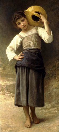 A girl from the fountain, Oil by William Adolphe Bouguereau (1825-1905, France)
