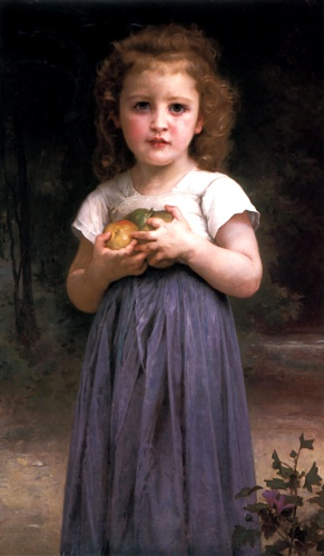 Maiden and Children, Oil by William Adolphe Bouguereau (1825-1905, France)