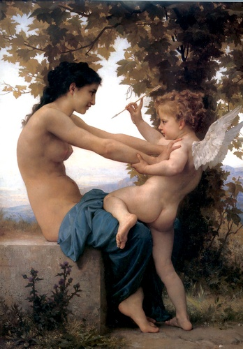 Young Girl Defending Herself against lamour by William Adolphe Bouguereau (1825-1905, France) | Museum Quality Reproductions | WahooArt.com