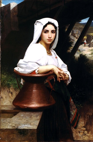 Italian drawing of young Leau, Oil by William Adolphe Bouguereau (1825-1905, France)