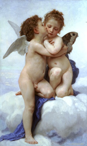 Lamour and Psyche Children, Oil by William Adolphe Bouguereau (1825-1905, France)