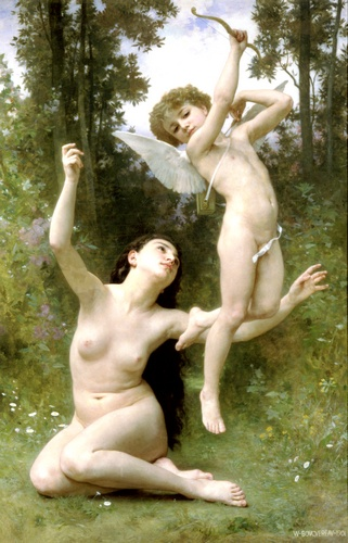 Lamour senvole, Oil by William Adolphe Bouguereau (1825-1905, France)