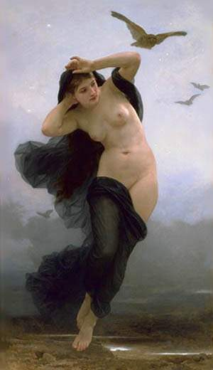 The night, Oil by William Adolphe Bouguereau (1825-1905, France)