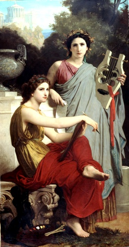 Lart and literature, Oil by William Adolphe Bouguereau (1825-1905, France)