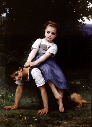La bourrique oil on canvas by William Adolphe Bouguereau (1825-1905, France) | Oil Painting | WahooArt.com