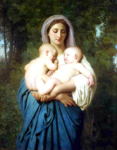 Charity 1859, Oil by William Adolphe Bouguereau (1825-1905, France)