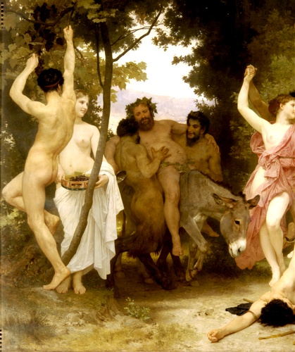 Youth of Bacchus left dt, Oil by William Adolphe Bouguereau (1825-1905, France)