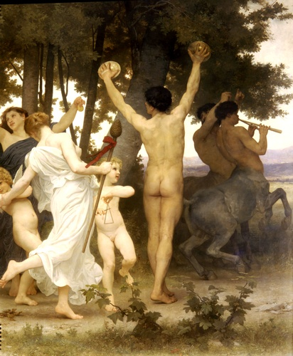 Youth of Bacchus right dt, Oil by William Adolphe Bouguereau (1825-1905, France)