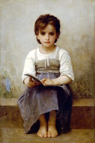 The hard lesson, Oil by William Adolphe Bouguereau (1825-1905, France)