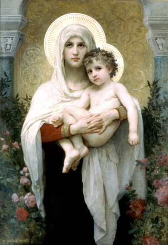 The Madonna with roses, Oil by William Adolphe Bouguereau (1825-1905, France)