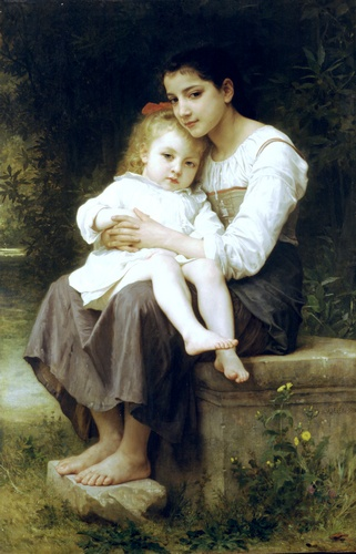 La soeur ainee, Oil by William Adolphe Bouguereau (1825-1905, France)