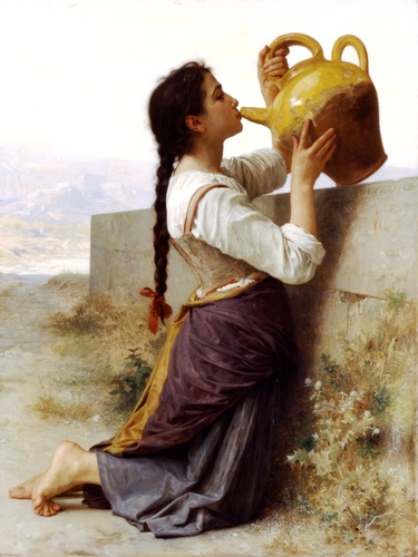 La soif, Oil by William Adolphe Bouguereau (1825-1905, France)