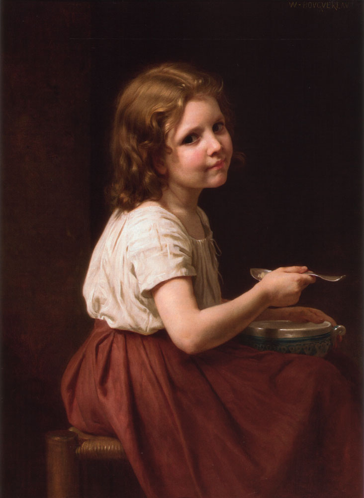 La Soupe, Oil by William Adolphe Bouguereau (1825-1905, France)