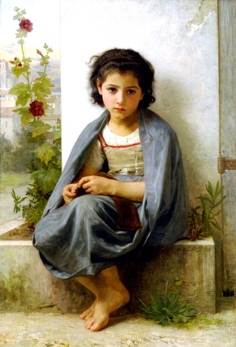 La tricoteuse, Oil by William Adolphe Bouguereau (1825-1905, France)