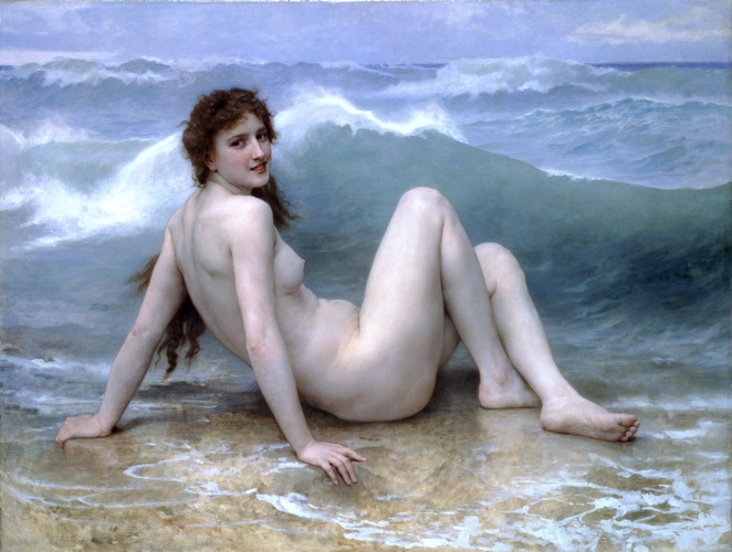 The wave, Oil by William Adolphe Bouguereau (1825-1905, France)