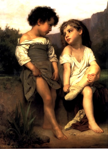 Young Bathers, Oil by William Adolphe Bouguereau (1825-1905, France)