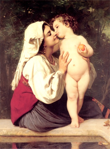 The Kiss 1863 by William Adolphe Bouguereau (1825-1905, France) | Famous Paintings Reproductions | WahooArt.com