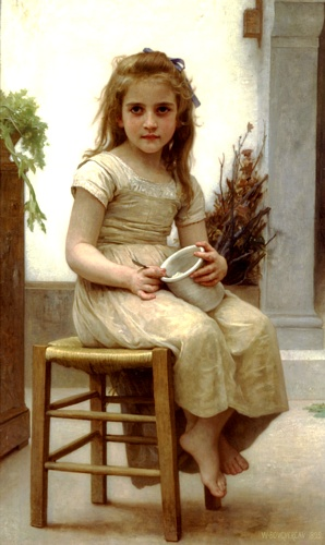 The taste, Oil by William Adolphe Bouguereau (1825-1905, France)