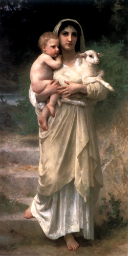 Le Jeune Bergere 1897, Oil by William Adolphe Bouguereau (1825-1905, France)