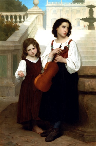 Far from home, Oil by William Adolphe Bouguereau (1825-1905, France)