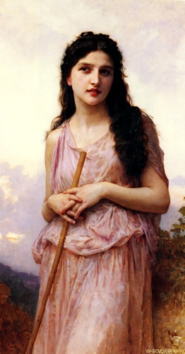 Meditation, Oil by William Adolphe Bouguereau (1825-1905, France)