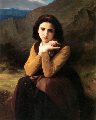 Mignon Pensive, Oil by William Adolphe Bouguereau (1825-1905, France)
