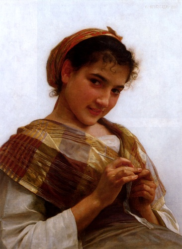 Portrait of a Young Girl Crocheting, Oil by William Adolphe Bouguereau (1825-1905, France)
