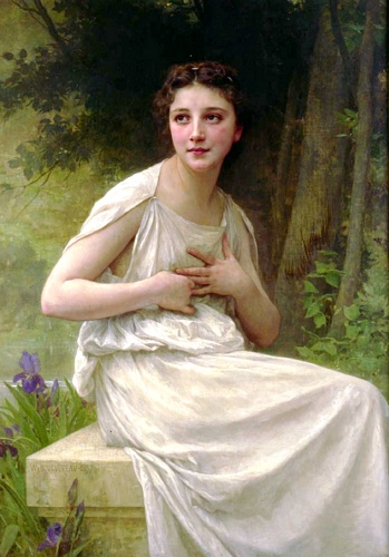Reflexion, Oil by William Adolphe Bouguereau (1825-1905, France)