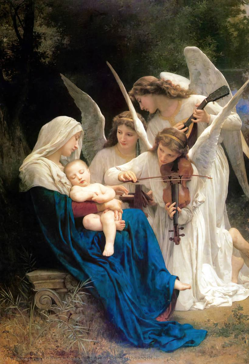 Song of the Angels, Oil by William Adolphe Bouguereau (1825-1905, France)