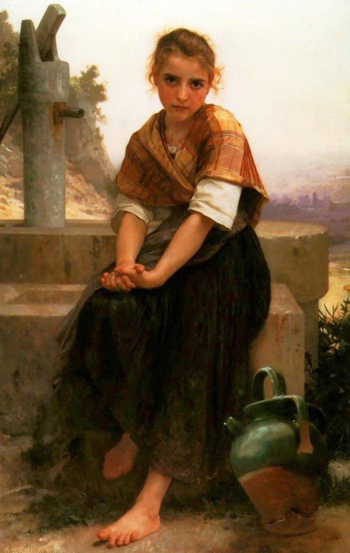 The Broken Pitcher, Oil by William Adolphe Bouguereau (1825-1905, France)