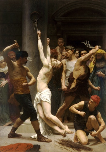 The Flagellation of Christ, Oil by William Adolphe Bouguereau (1825-1905, France)