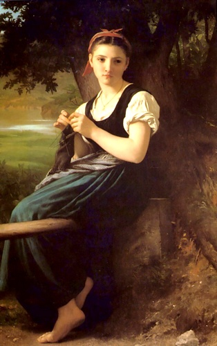 The Knitting Girl, Oil by William Adolphe Bouguereau (1825-1905, France)