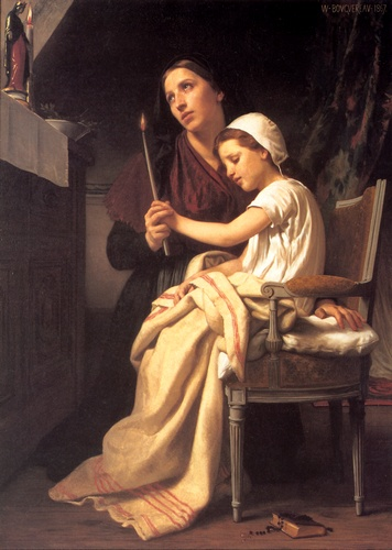 The Thank Offering, Oil by William Adolphe Bouguereau (1825-1905, France)