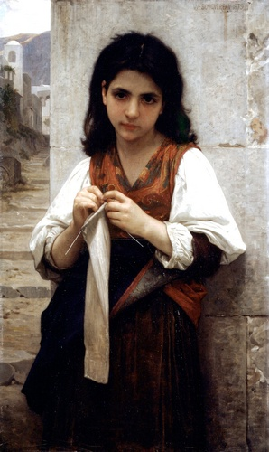 Knitter 1879, Oil by William Adolphe Bouguereau (1825-1905, France)