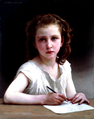 A Vocation, Oil by William Adolphe Bouguereau (1825-1905, France)