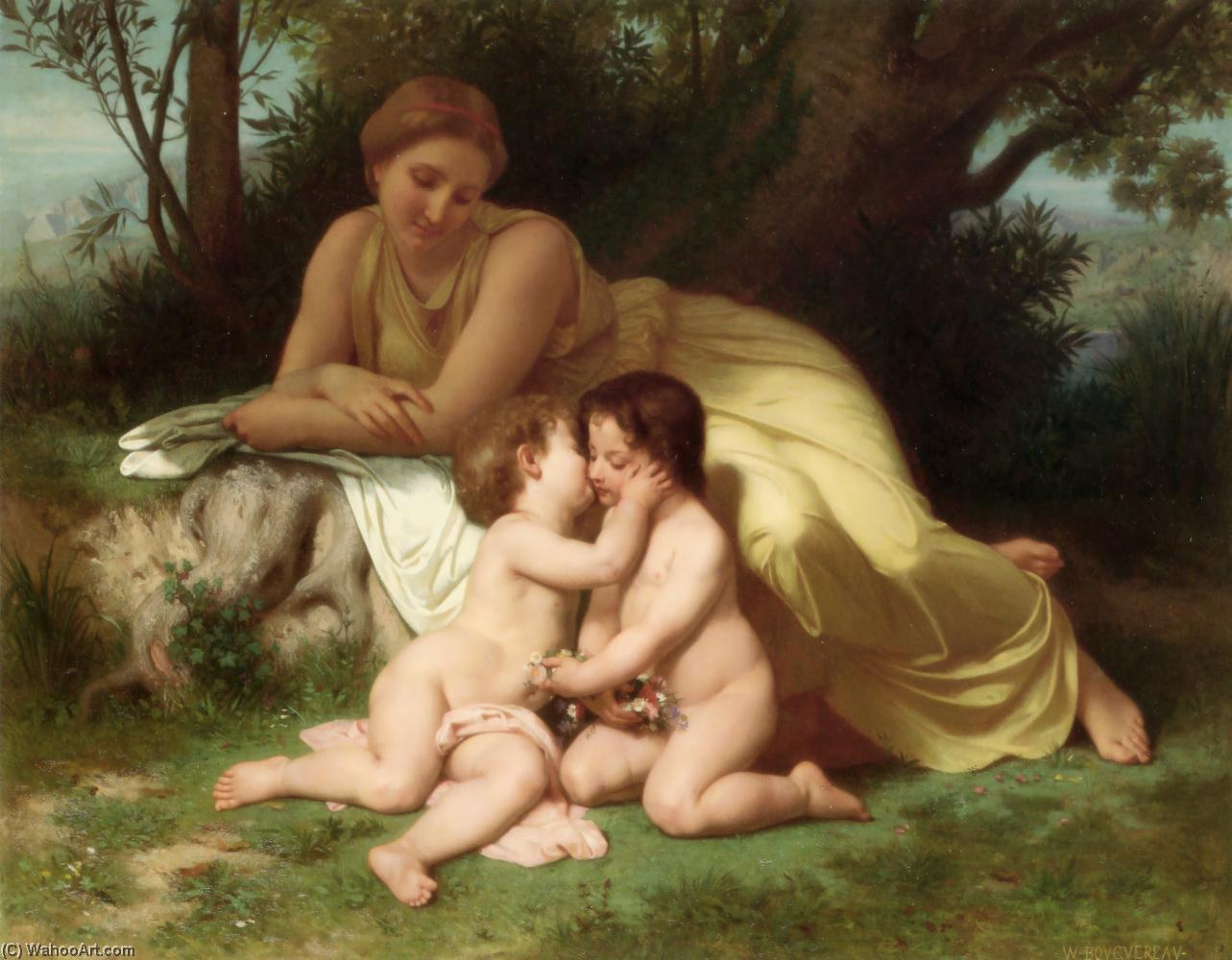Young Woman Contemplating Two Embracing Children, Oil by William Adolphe Bouguereau (1825-1905, France)