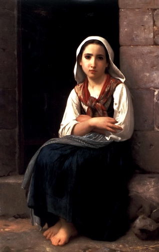 Yvonette, Oil by William Adolphe Bouguereau (1825-1905, France)