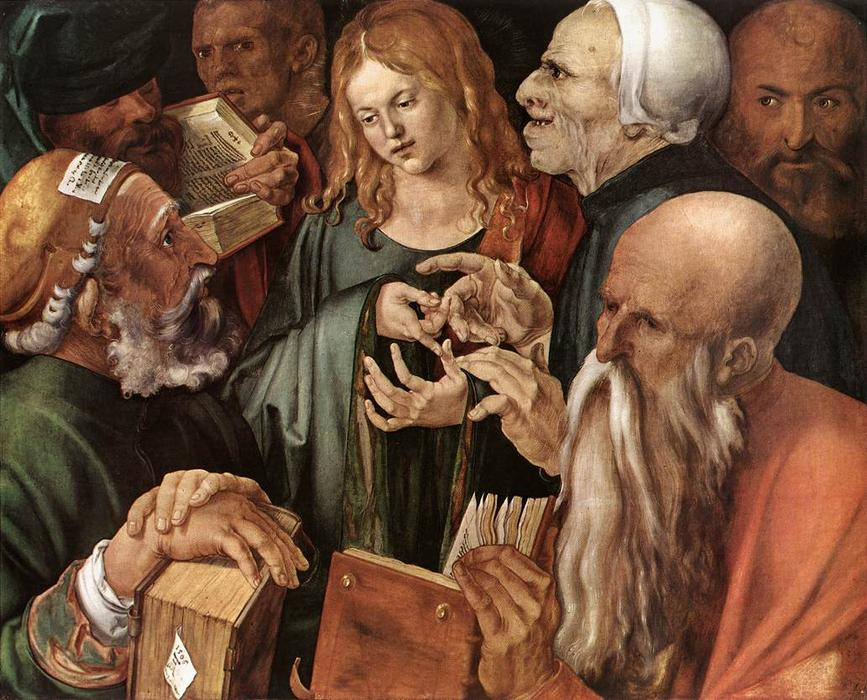 Christ Among the Doctors, 1506 by Albrecht Durer (1471-1528, Italy) | Museum Quality Reproductions | WahooArt.com