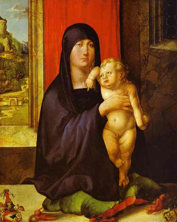 Madonna and Child, Oil by Albrecht Durer (1471-1528, Italy)