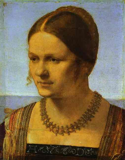 Portrait of a Young Venetian Woman, Oil by Albrecht Durer (1471-1528, Germany)