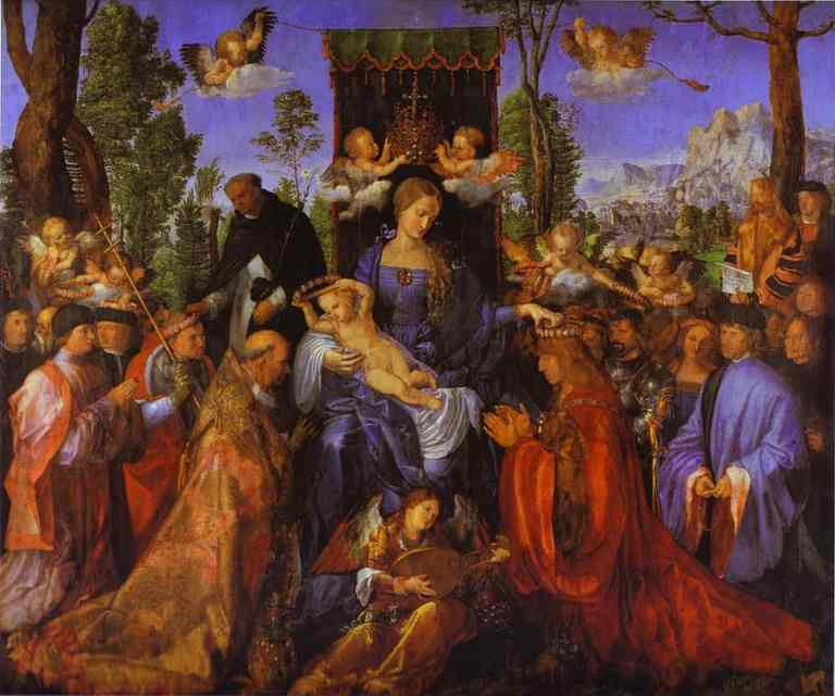 The Altarpiece of the Rose Garlands, Oil by Albrecht Durer (1471-1528, Germany)