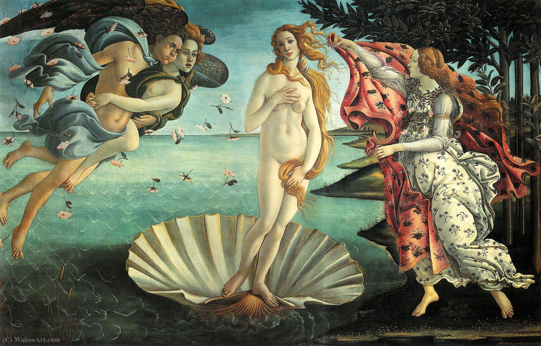 The Birth of Venus, 1486 by Sandro Botticelli (1445-1510, Italy) | Paintings Reproductions Sandro Botticelli | WahooArt.com