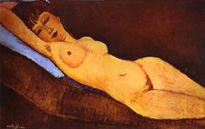 Amedeo Modigliani - Reclining Nude with Blue Cushion - (oil painting reproductions)
