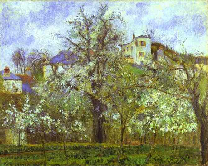 Vegetable Garden and Trees in Blossom, Spring, Pontoise, 1877 by Camille Pissarro (1830-1903, United States) | Paintings Reproductions Camille Pissarro | WahooArt.com