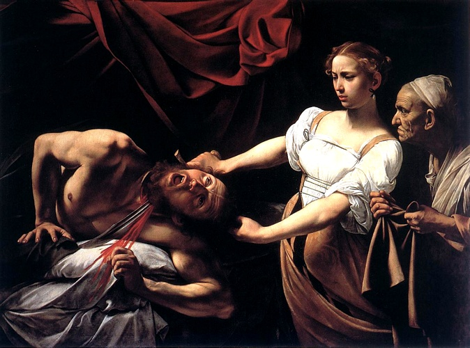 Judith Beheading Holofernes, Oil by Caravaggio (Michelangelo Merisi) (1571-1610, Italy)