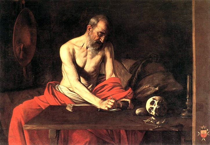 Saint Jerome Writing, Oil by Caravaggio (Michelangelo Merisi) (1571-1610, Italy)