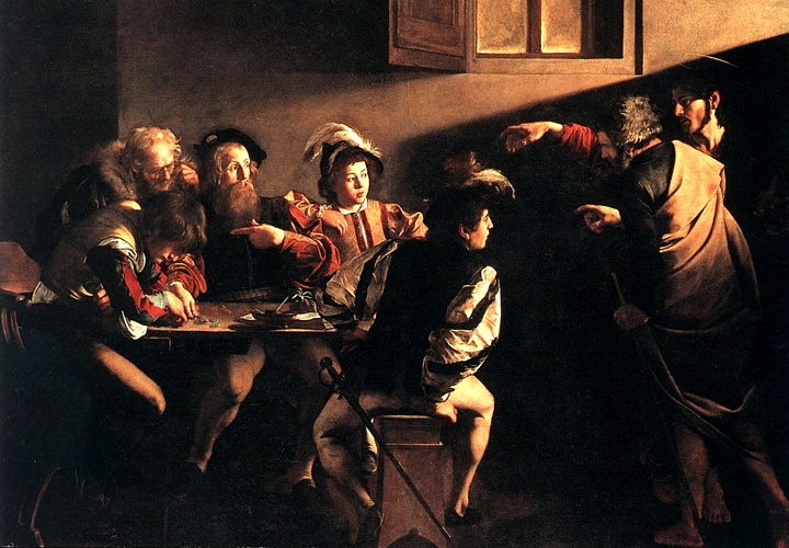 The Calling Of Saint Matthew, Oil by Caravaggio (Michelangelo Merisi) (1571-1610, Italy)