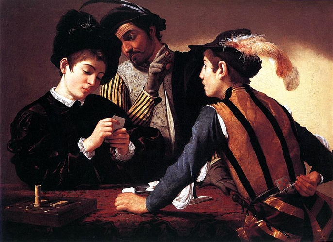 The Cardsharps, Oil by Caravaggio (Michelangelo Merisi) (1571-1610, Spain)
