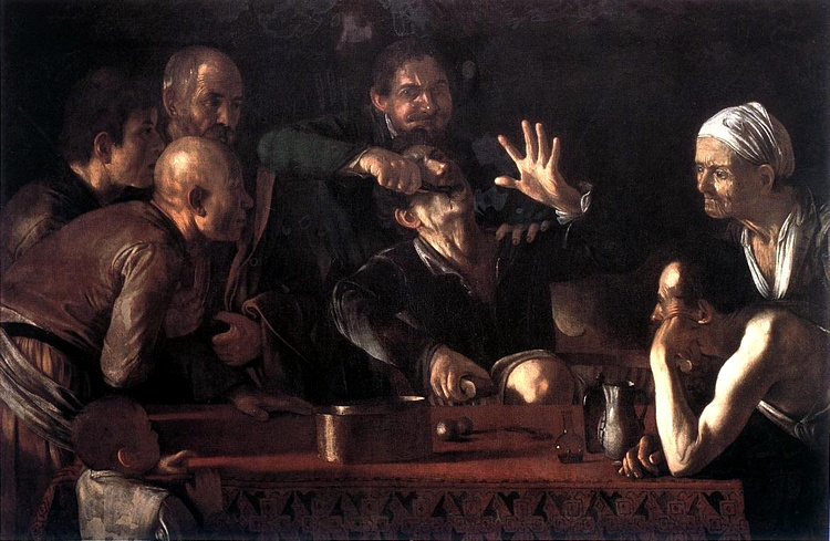 The Tooth-Drawer, Oil by Caravaggio (Michelangelo Merisi) (1571-1610, Spain)