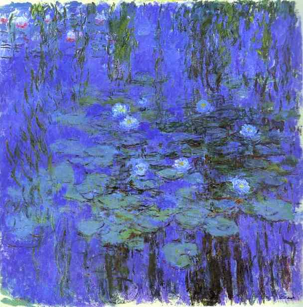 Blue Water Lilies, Oil by Claude Monet (1840-1926, France)